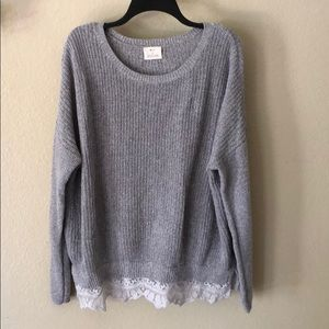 Pins and needles oversized lace trimmed sweater L